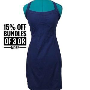 Athleta Modra navy blue halter dress